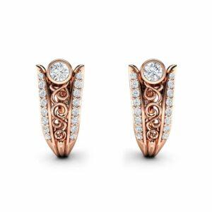 Diamond Earrings Rose Gold Earrings Huggy Earrings Hoop Earrings Art Nouveau Diamonds Earrings