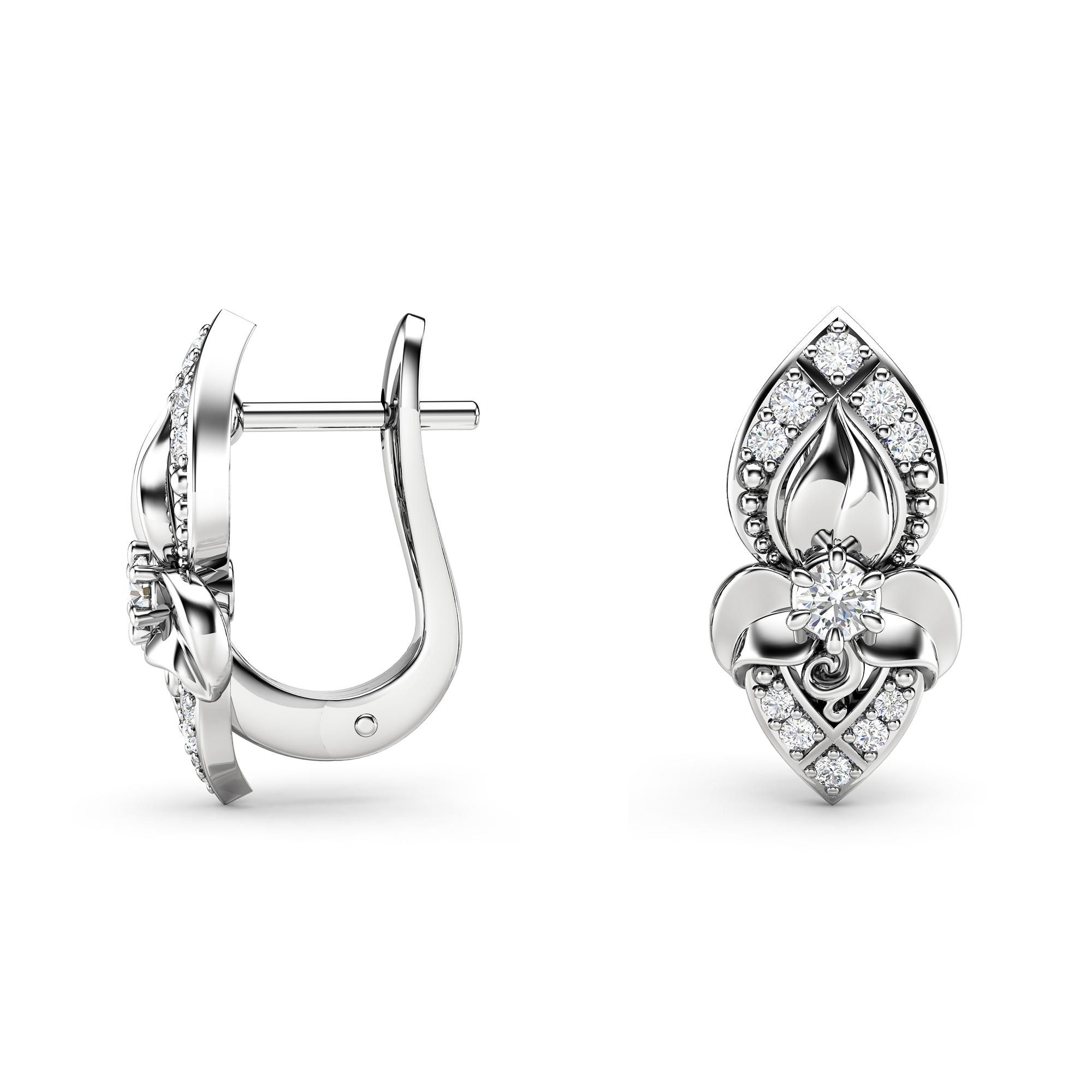 Natural Diamonds Earrings Gold Earrings Huggy Earrings Leaf Earrings Art Nouveau Diamonds Earrings