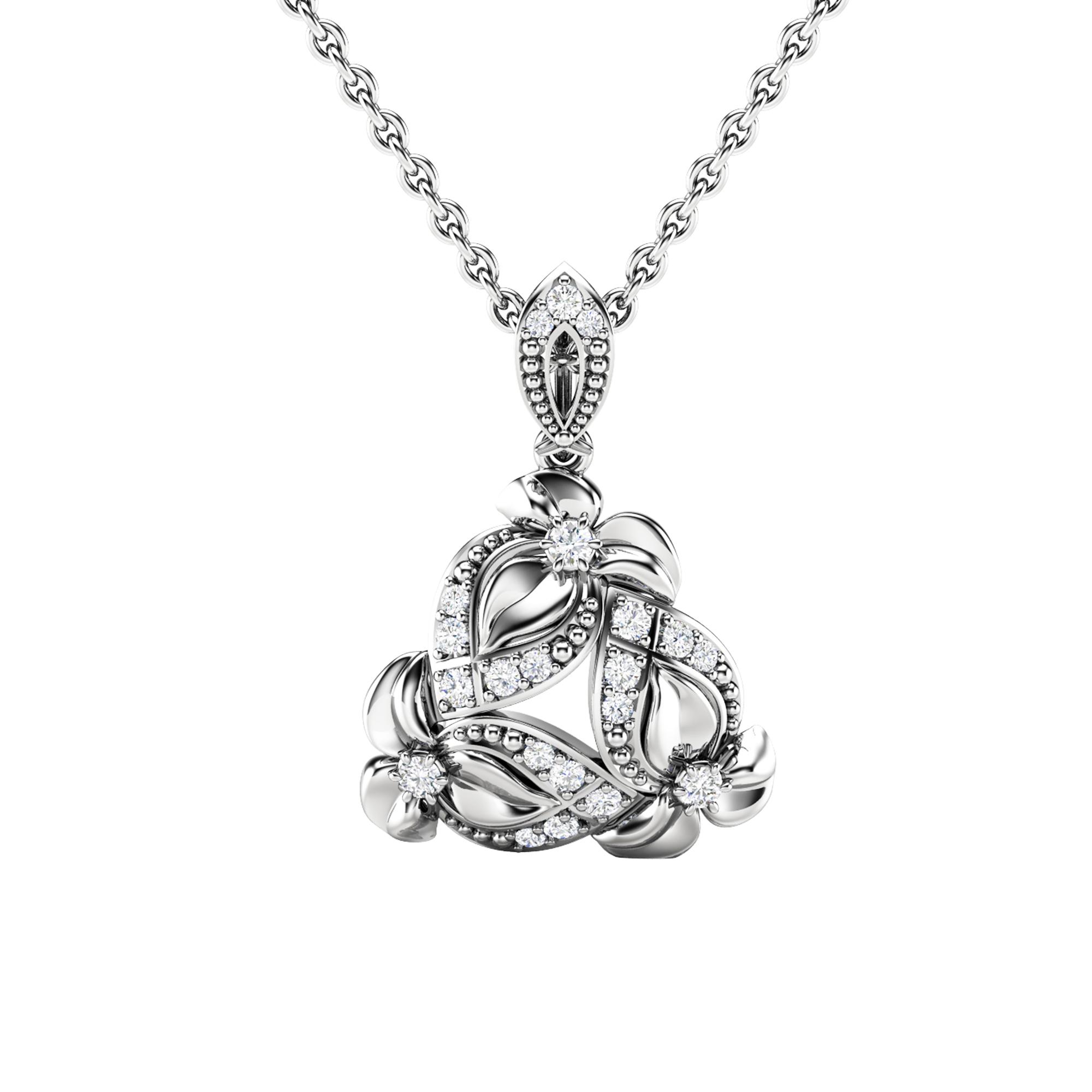 Diamonds Pendant Necklace Genuine Natural Diamonds Flowers Pendant White Gold Floral Pendant Unique Diamonds Pendant