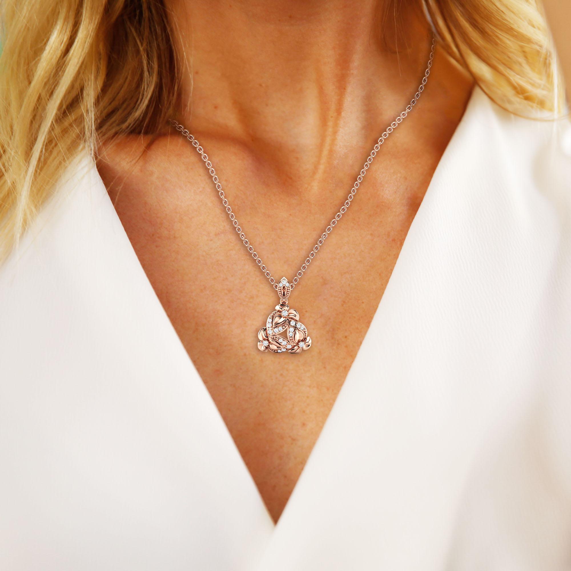 Diamonds Pendant Necklace Genuine Natural Diamonds Flowers Pendant Rose Gold Floral Pendant Unique Diamonds Pendant