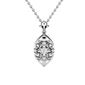 Genuine Natural Diamonds Pendant 14K White Gold Pendant Necklace Unique Diamonds Pendant