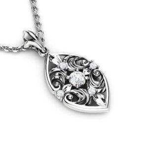 Genuine Natural Diamonds Pendant 14K White Gold Pendant Necklace Unique Diamonds Pendant