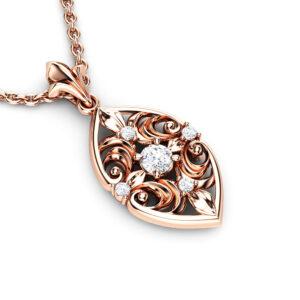 Genuine Natural Diamonds Pendant 14K Rose Gold Pendant Necklace Unique Diamonds Pendant