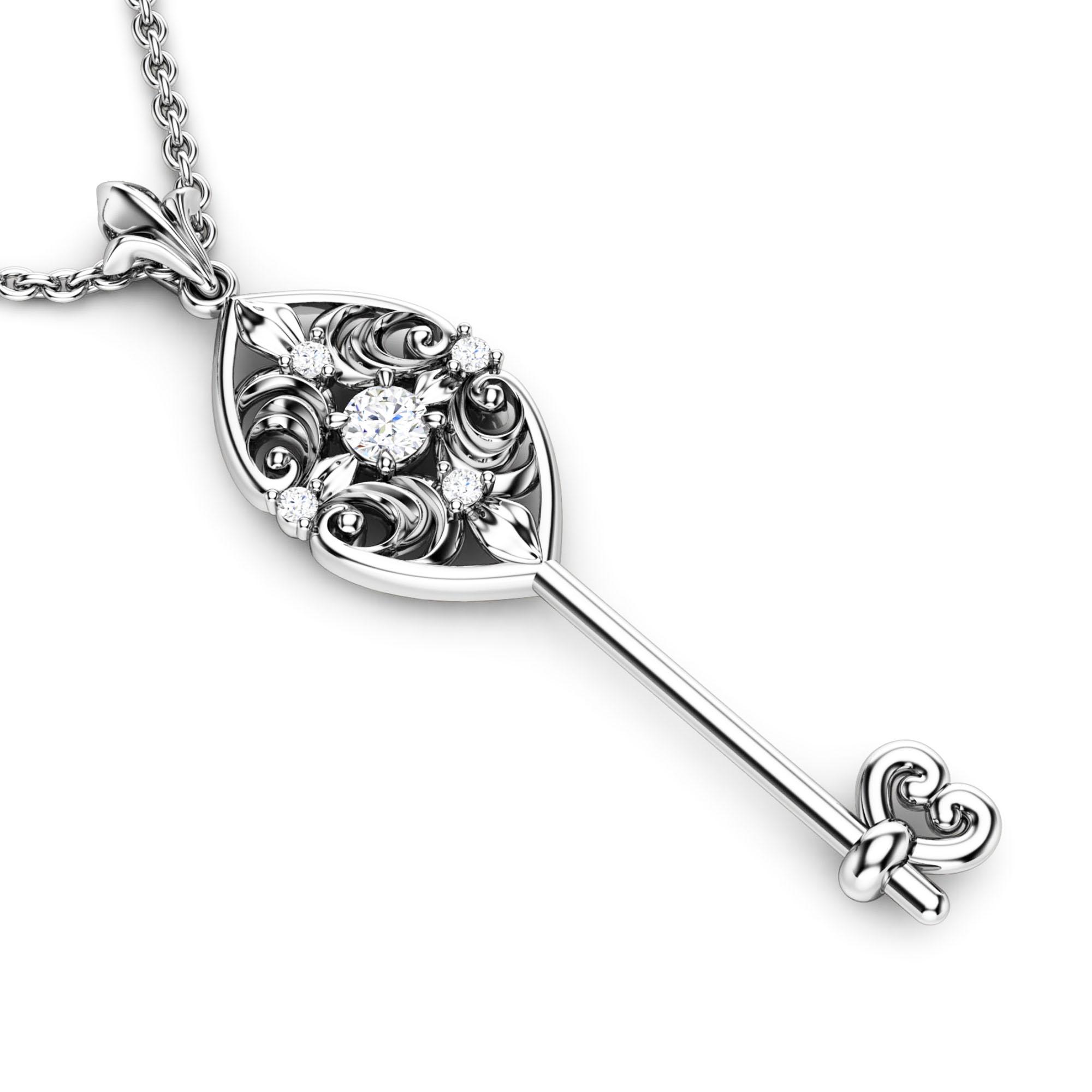 Genuine Natural Diamonds Key Pendant Edwardian Diamonds Key Pendant Necklace Unique Diamonds Key Pendant
