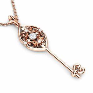 Genuine Natural Diamonds Key Pendant 14K Gold Edwardian Diamonds Key Pendant Unique Diamonds Key Pendant