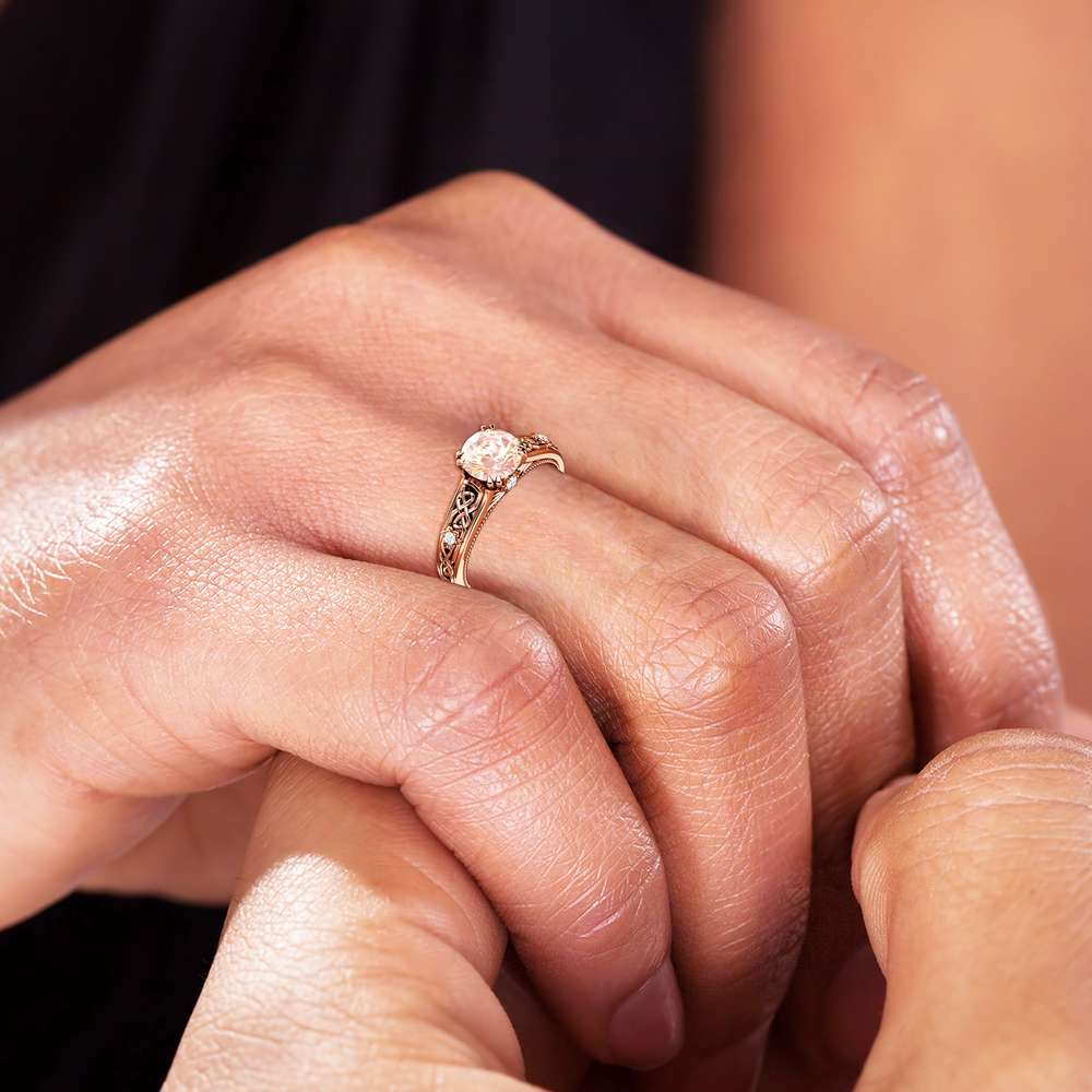 Vintage Peach Sapphire Engagement Ring Rose Gold Ring Unique Art Deco Engagement Ring
