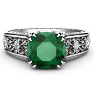 Emerald Engagement Ring 14K White Gold Ring Unique Art Deco Engagement Ring