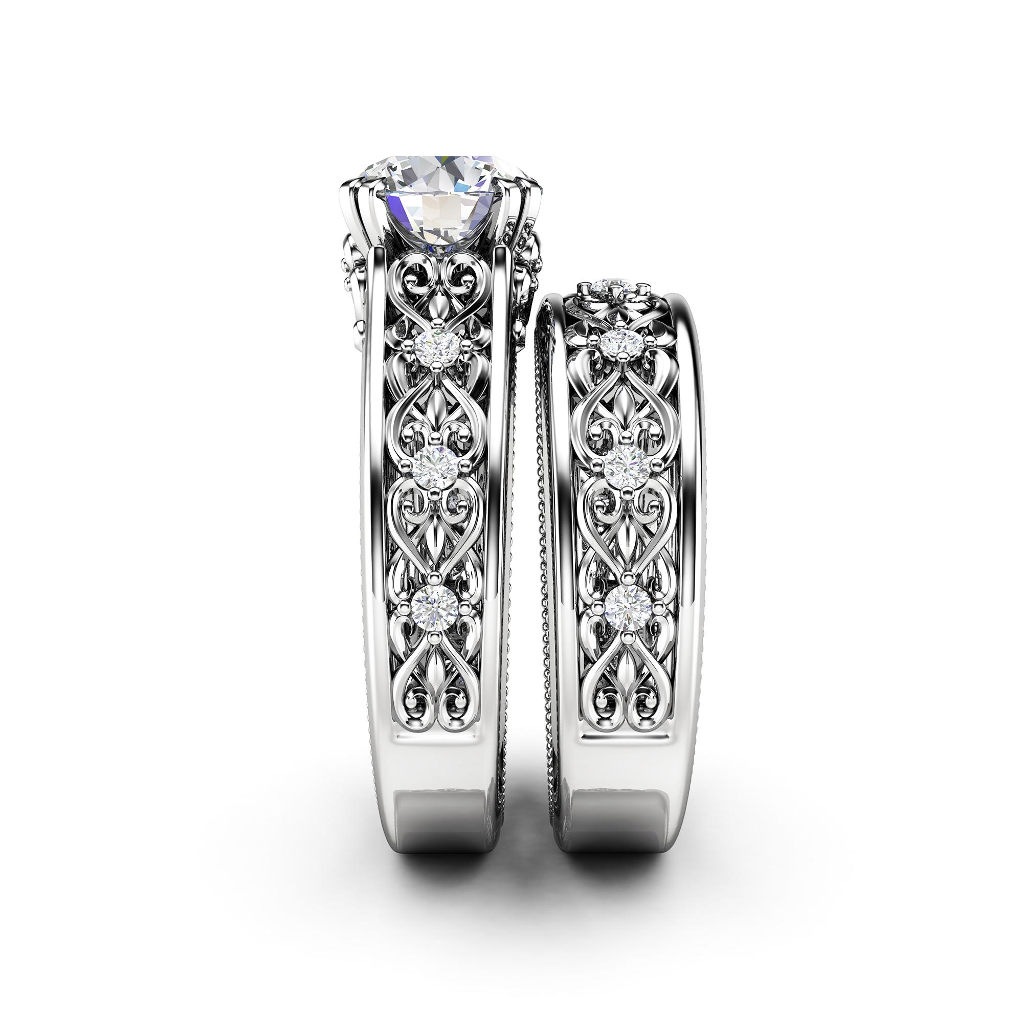 Vintage Moissanite Engagement Ring Set 14K White Gold Ring with Matching Band Art Deco Engagement Ring Set