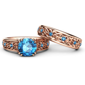 Blue Diamond Wedding Ring Set 14K Rose Gold Ring with Matching Band Art Deco Engagement Ring Set