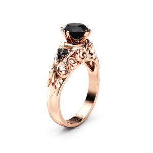 Black Diamond Engagement Ring 14K Rose Gold Ring Alternative Anniversary Ring Art Nouveau Engagement Ring