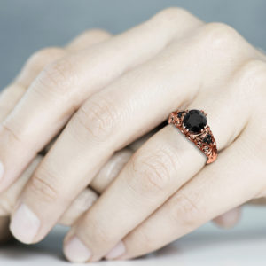 Black Diamond Engagement Ring 14K Rose Gold Ring Alternative Anniversary Ring Art Nouveau Engagement Ring