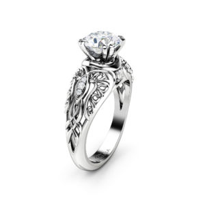 Moissanite Engagement Ring Art Nouveau Styled Ring 14K White Gold Ring Diamonds Wedding Ring