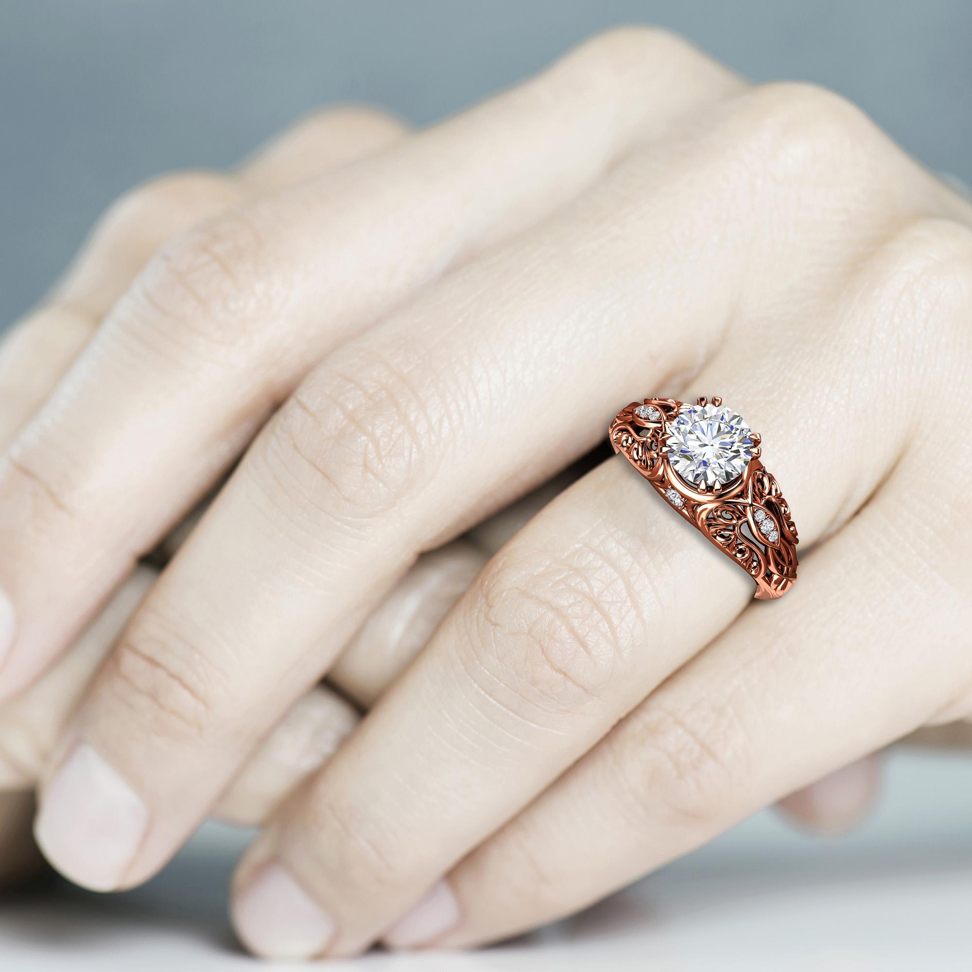 Moissanite Engagement Ring Art Nouveau Styled Ring 14K Rose Gold Ring Diamonds Wedding Ring