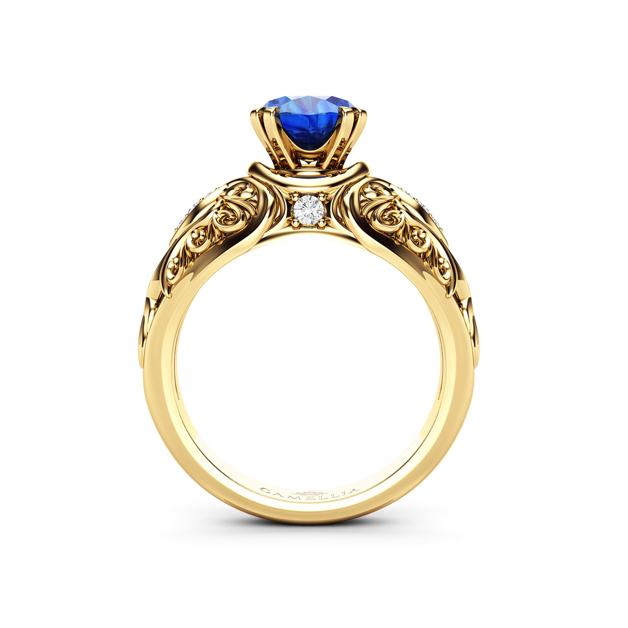 Art Nouveau Styled Blue Sapphire Ring 14K Yellow Gold Engagement Ring Sapphire Ring Unique Alternative Engagement Ring