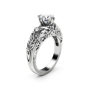 Alternative Engagement Ring Moissanite Ring White Gold Ring Round Shape Moissanite Ring