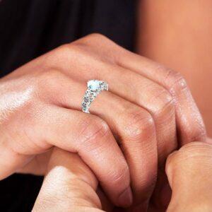 Aquamarine Engagement Ring Gemstone and Natural Diamonds Ring Unique 14K White Gold Engagement Ring