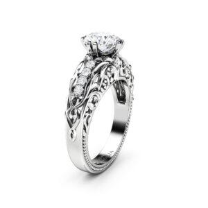 Moissanite Ring Alternative Engagement Ring 14K White Gold Ring Diamonds Ring Moissanite Engagement Ring