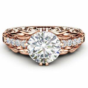 Moissanite Ring Alternative Engagement Ring 14K Rose Gold Ring Diamonds Ring Moissanite Engagement Ring