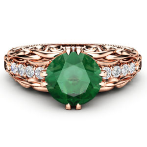 Emerald Engagement Ring 14K Rose Gold Ring Alternative Art Nouveau Designed Ring Natural Gemstone Engagement Ring