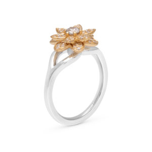 Unique Engagement Ring Unique Flower Ring 18K Gold Natural Diamonds Ring For Her Morning Dew Collection By Camellia Jewelry
