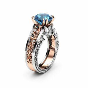 Filigree Blue Diamond Engagement Ring Vintage Inspired Ring Blue Diamond Wedding Ring