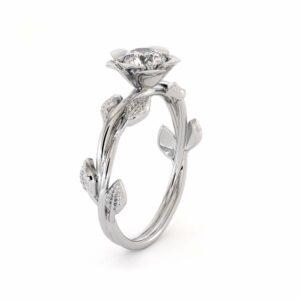 Delicate Moissanite Engagement Ring Moissanite White Gold Ring Unique Leaf Engagement Ring