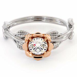 Rose Promise Ring Moissanite Engagement Ring White & Rose Gold Promise Ring