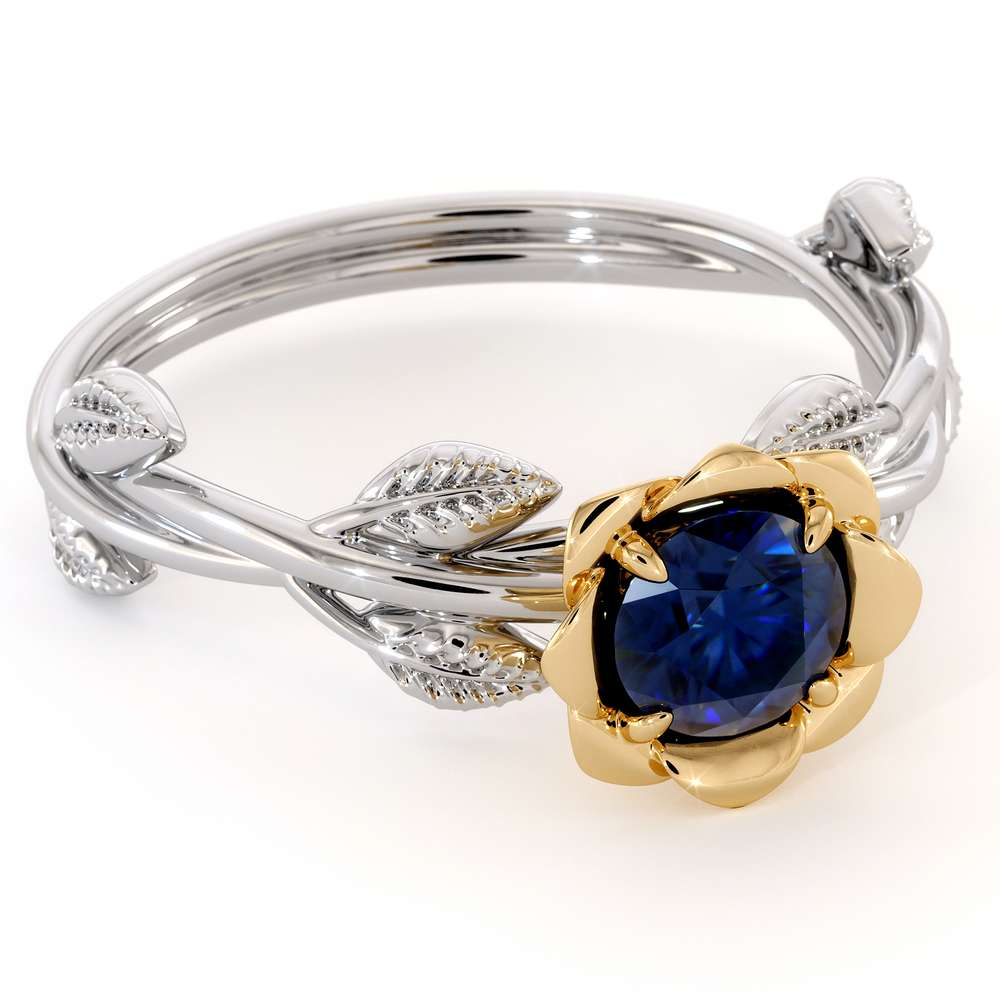 Golden Rose Sapphire Engagement Ring Unique Flower Ring Nature Inspired Sapphire Ring