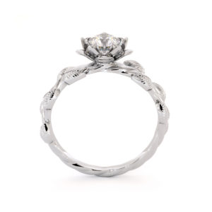 Flower Lotus Ring Moissanite Engagement Ring White Gold Leaf Ring