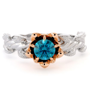 Autumn Blue Diamond Ring Floral Engagement Ring Solid Gold Promise Ring