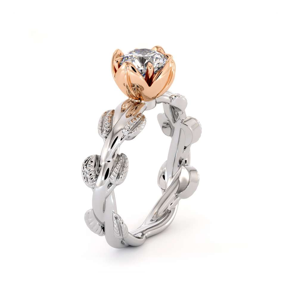 Moissanite Engagement Ring Laboratory Diamond Engagement Ring Unique White And Rose Gold Leaves Ring