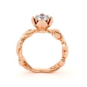 Moissanite Engagement Ring Laboratory Diamond Engagement Ring Unique Rose Gold Leaves Ring