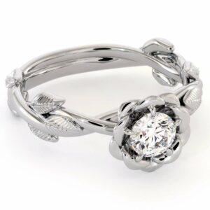Autumn Moissanite Engagement Ring Leaves Ring Moissanite Gold Engagement Ring