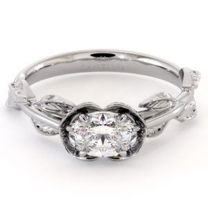 Oval Cut Moissanite Engagement Ring East To West Engagement Ring White Gold Leaves Wedding Ring