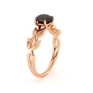 Nature Inspired Black Diamond Ring Alternative Engagement Ring 14K Rose Gold Black Diamond Center Ring