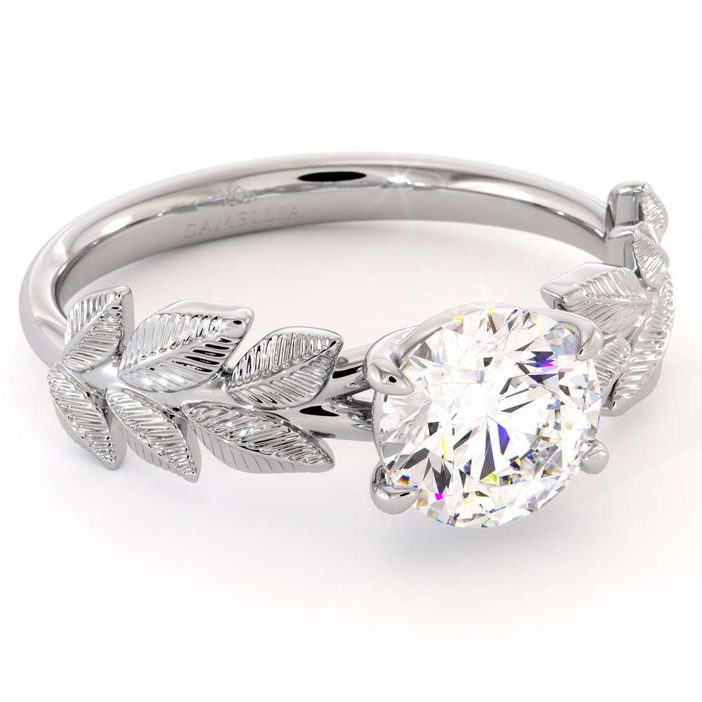 Solitaire Moissanite Nature Ring 14K White Gold Fine Jewelry Moissanite Promise Ring For Her