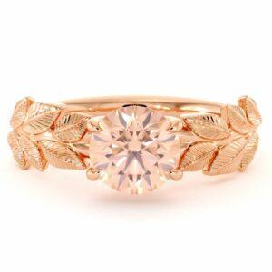 Solitaire Morganite Engagement Ring Rose Gold Womens Ring Leaf Promise Ring Morganite Gemstone Ring