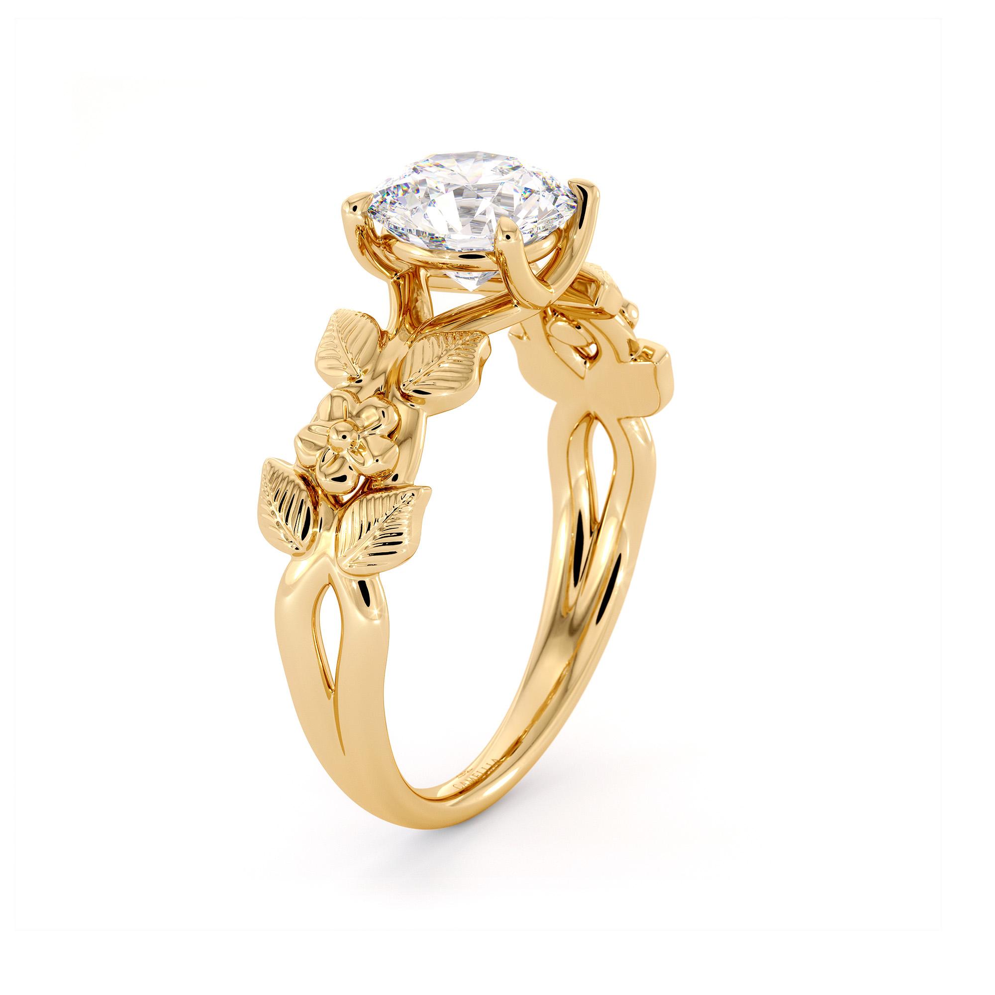 Engagement Ring flower Ring moissanite bridal ring Unique Moissanite Ring Yellow Gold Leaves Ring