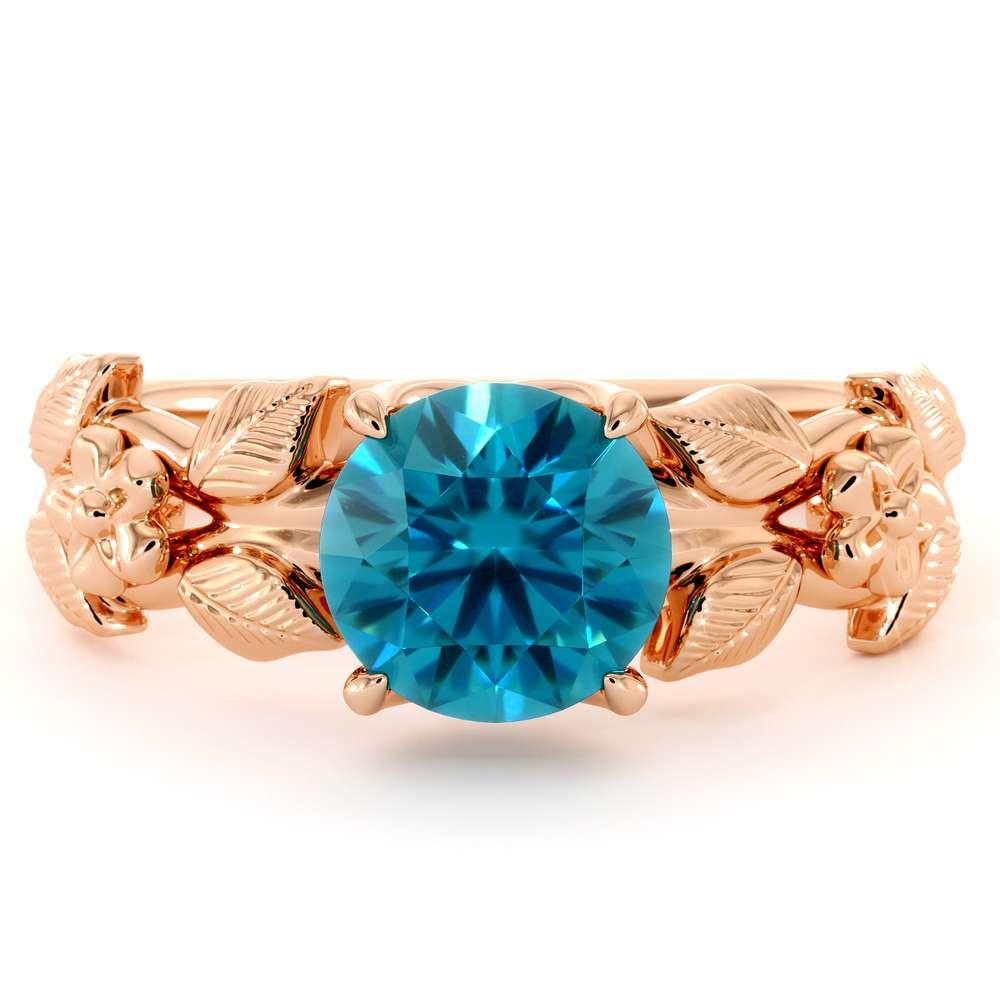 Engagement Ring Blue Diamond Ring 14K Rose Gold Ring Flower Leaves Engagement Ring