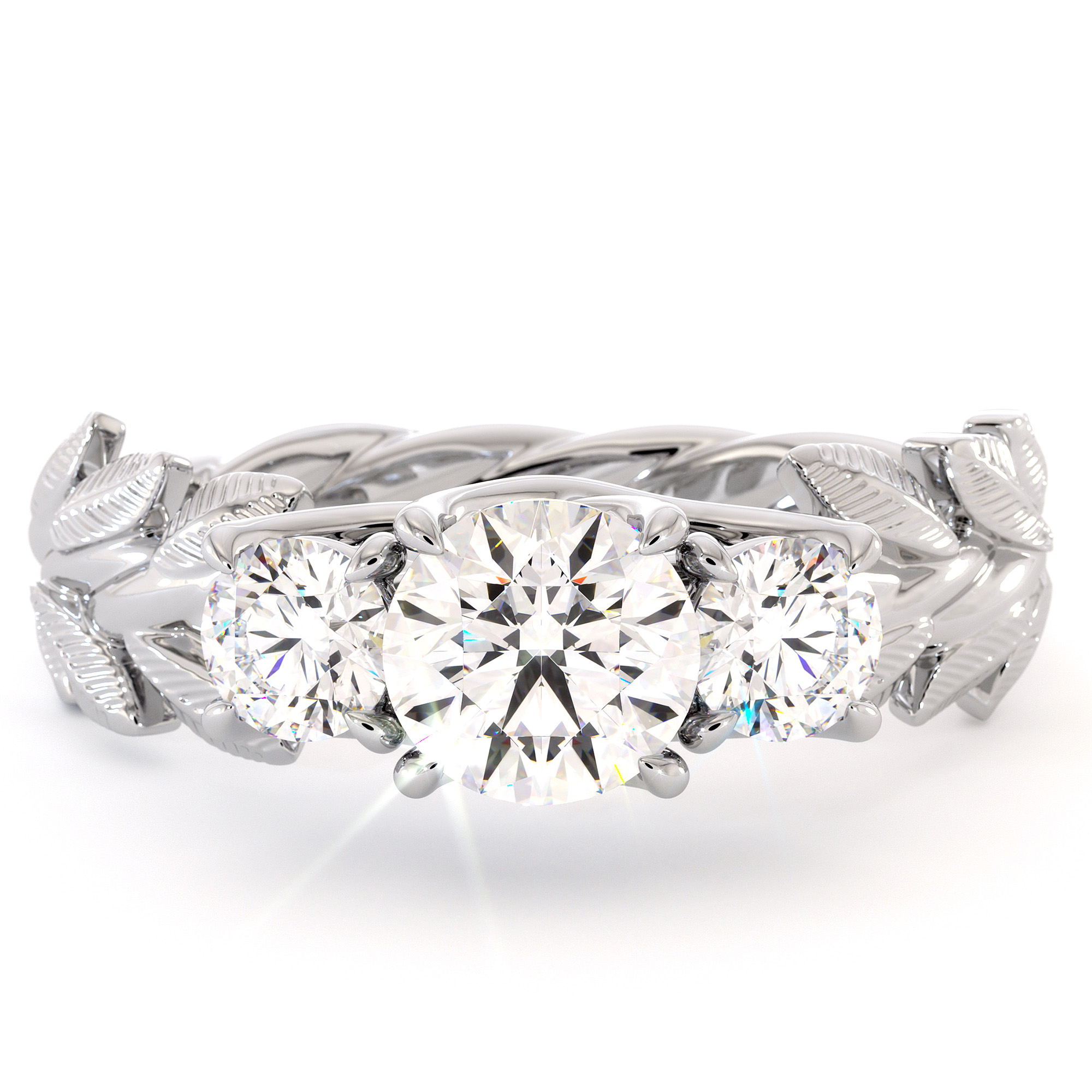 Floral Three Stone Engagement Ring Three Moissanite Ring White Gold Leaves 3 stone Wedding Ring