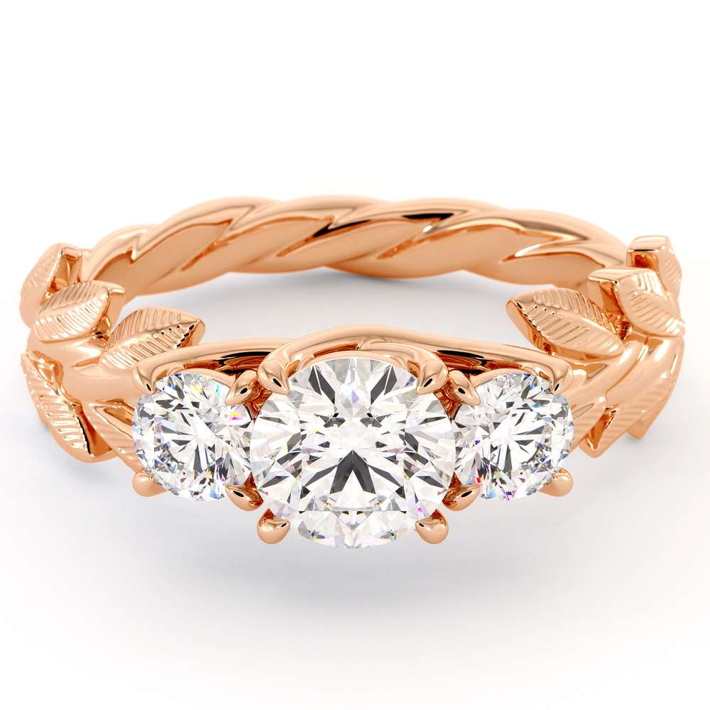 Rose Gold Three Stone ring Moissanite 3 Stone Ring Twisted Band With Leaves