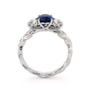 Three Stone Sapphire Engagement Ring Sapphire & Diamonds Ring Unique Blue and White Three Stone Gold Ring