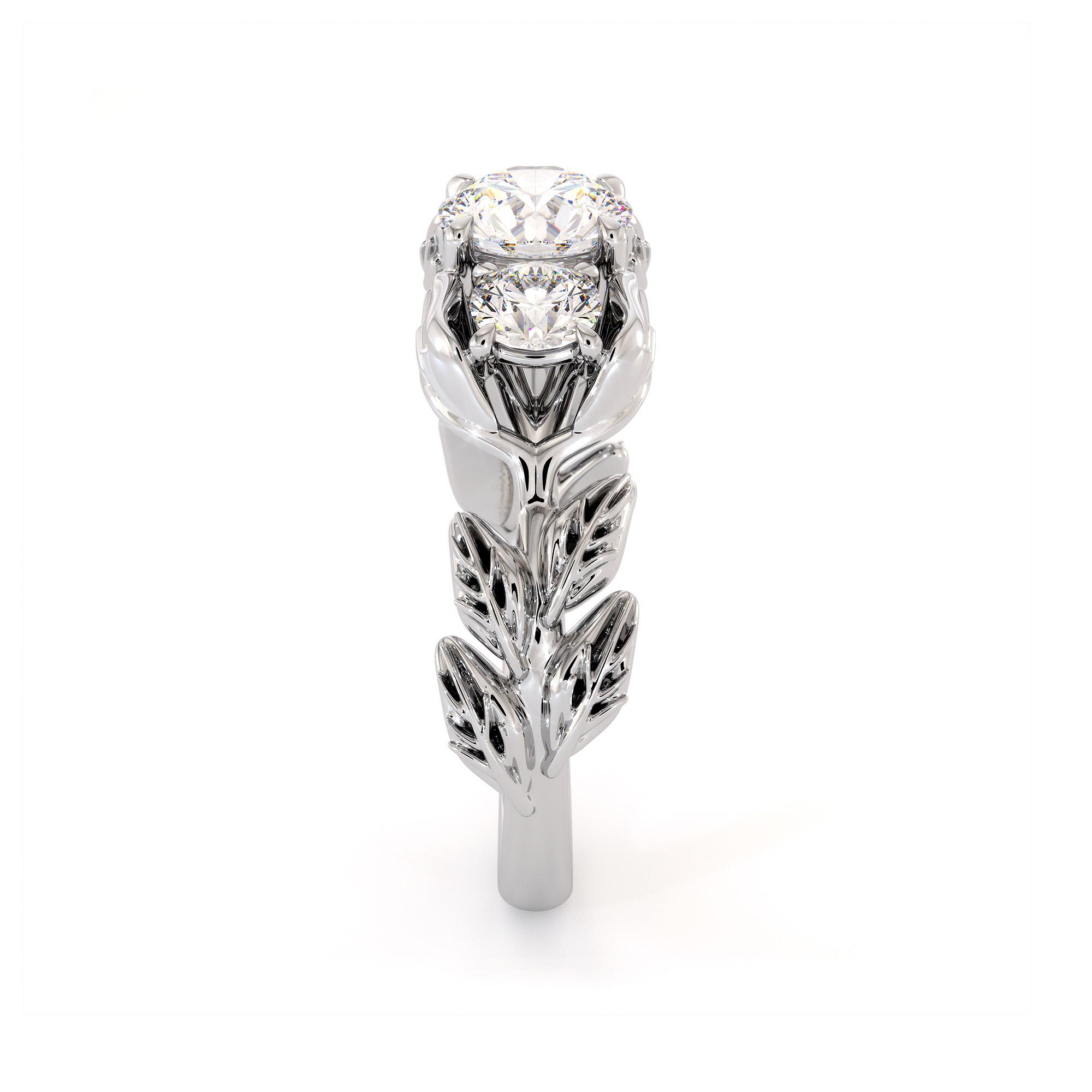 Three Stone Moissanite Engagement Ring Diamond Alternative Ring Unique White Gold Foliage Ring