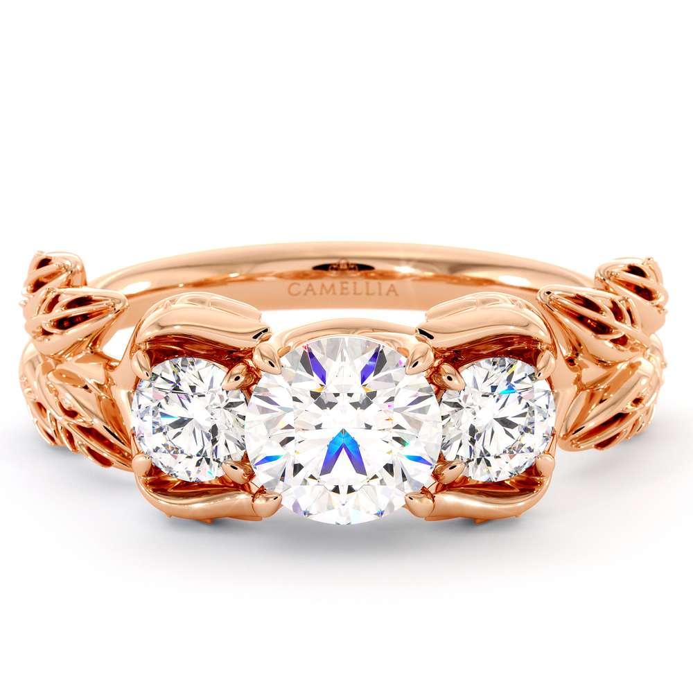 Three Stone Moissanite Engagement Ring Diamond Alternative Ring Unique Rose Gold Foliage Ring