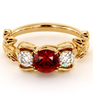 Three Stone Ring Ruby Ring Diamonds Ring Unique Engagement Ring 14K Solid Gold Ring Natural Gemstone Ring