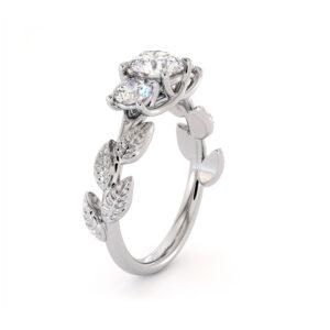 Moissanite Engagement Ring Three Stone Ring Diamond Alternative Ring Unique White Gold Foliage Ring