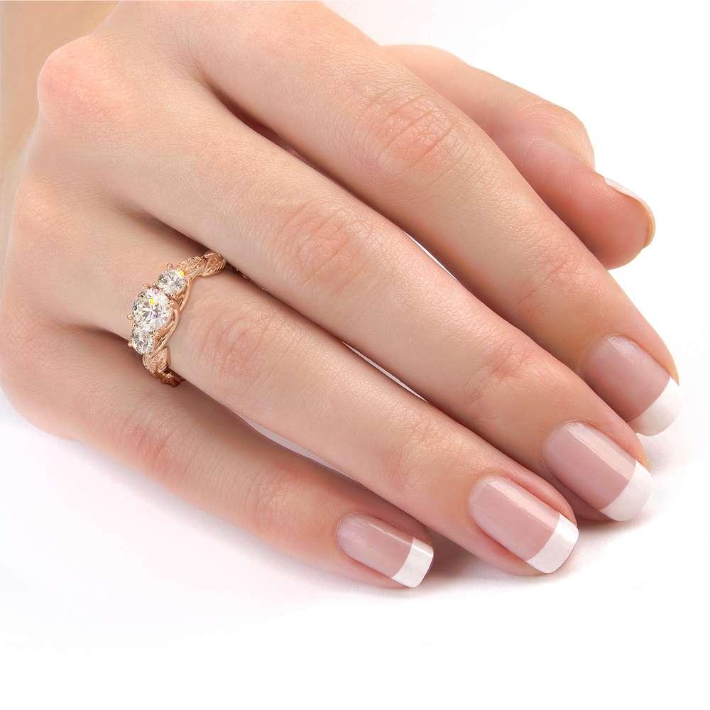 Moissanite Engagement Ring Three Stone Ring Diamond Alternative Ring Unique Rose Gold Foliage Ring