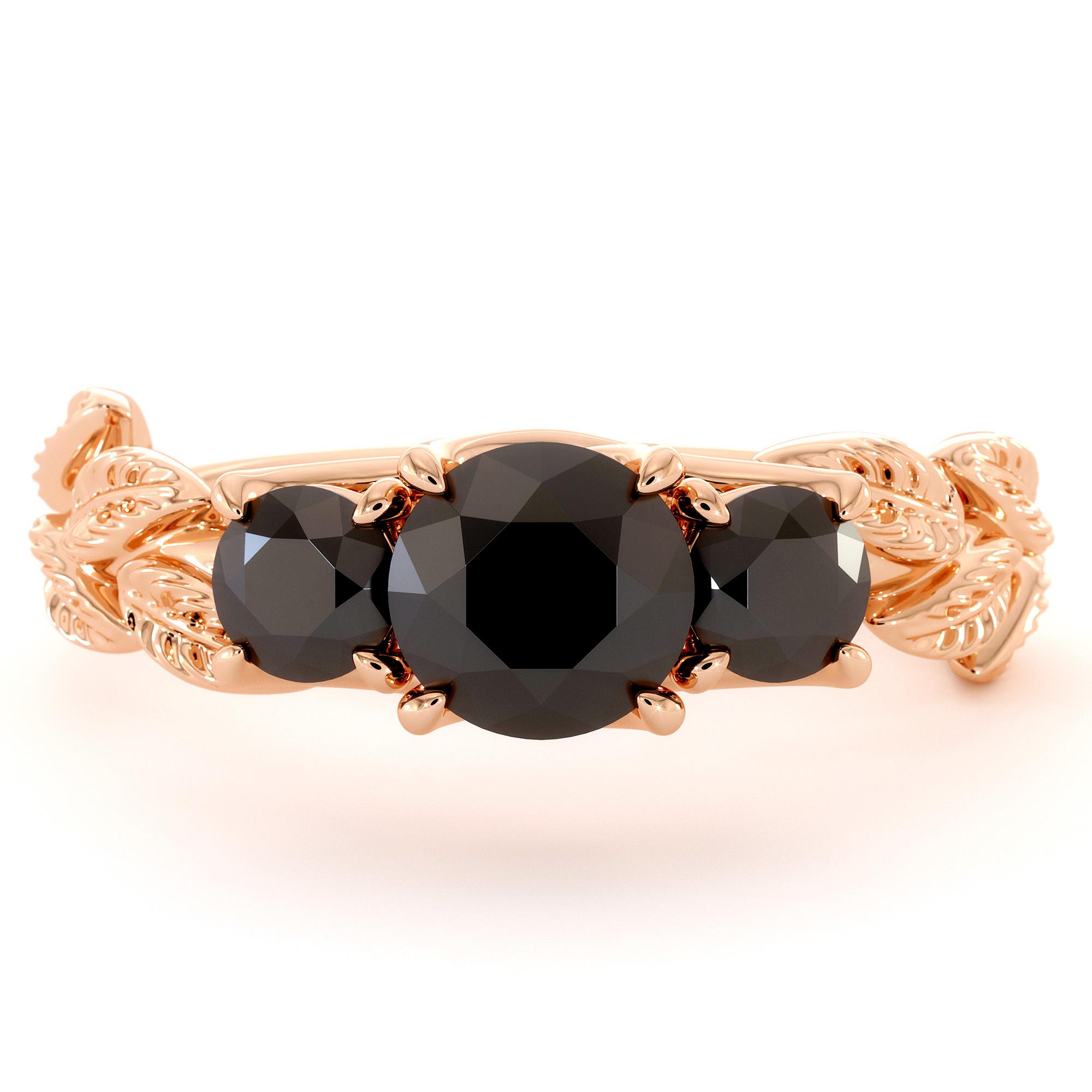 Three Stone Engagement Ring Black Diamond Ring Rose Gold Three Diamonds Ring Leaf Engagement Ring