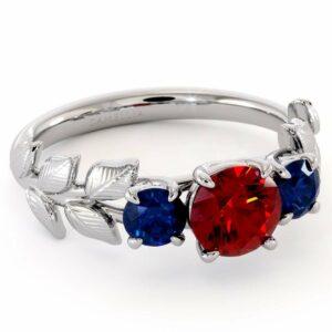 Unique Three Gemstone Engagement Ring Ruby & Sapphires Three Stone Ring Unique Gemstones Anniversary Gift