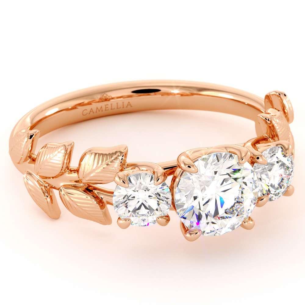 3 Moissanite Engagement Ring Three Stones Ring Moissanite Rose Gold Ring Promise Gift For Her